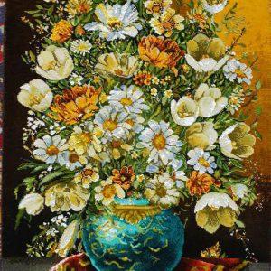 تابلو فرش گل و گلدان دستباف